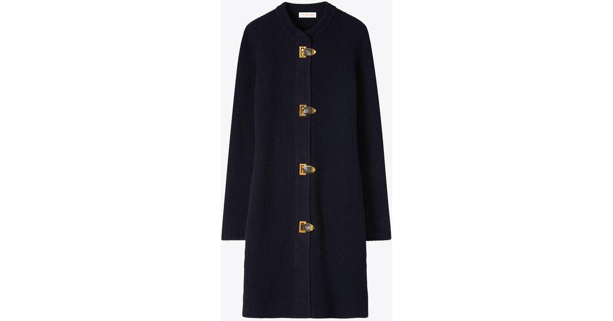 c021cb4ec443 Lyst - Tory Burch Rory Sweater Coat in Blue