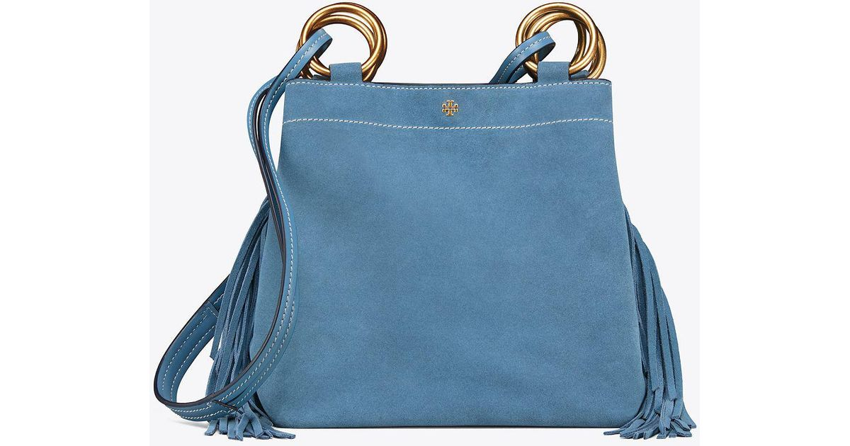 99b420bfc664 Tory Burch Farrah Fringe Small Tote in Blue - Save 42.61904761904762% - Lyst