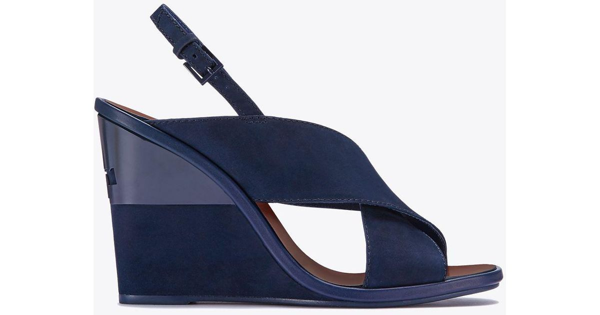 e0ab1dc7e Lyst - Tory Burch Gabrielle Nubuck Wedge Sandal in Blue