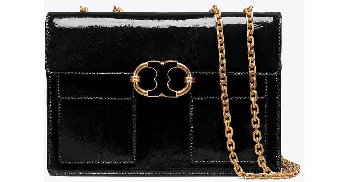6fc0e93a79c50 Lyst - Tory Burch Gemini Link Patent Medium Chain Shoulder Bag in Black