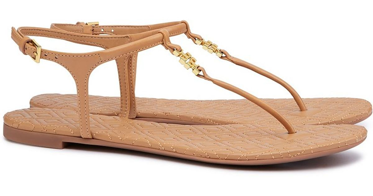 cdf3dbd5b85 Lyst - Tory Burch Marion Leather Sandals in Brown