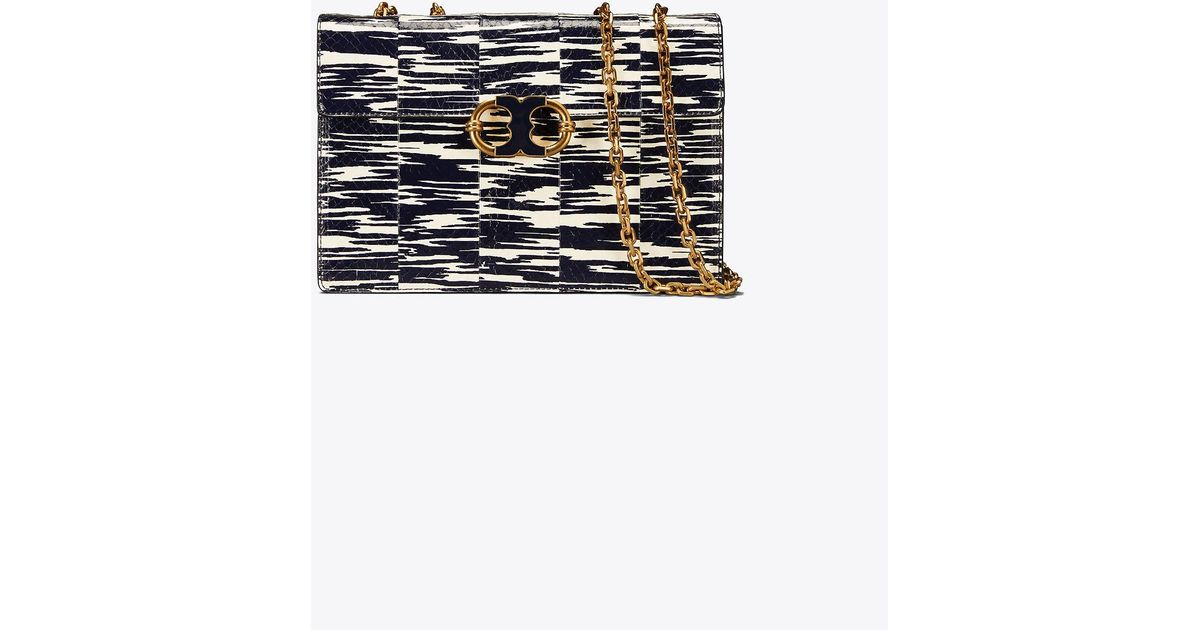 0121660f64767 Lyst - Tory Burch Gemini Link Snake Medium Chain Shoulder Bag in Blue