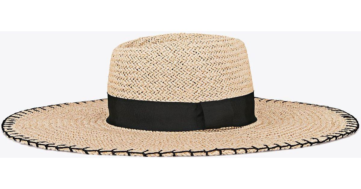 6ad2ee15e Tory Burch Black Wide-brim Straw Hat