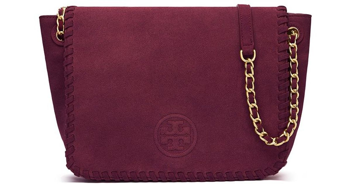 5ff6be77a45c Lyst - Tory Burch Marion Suede Small Flap Shoulder Bag
