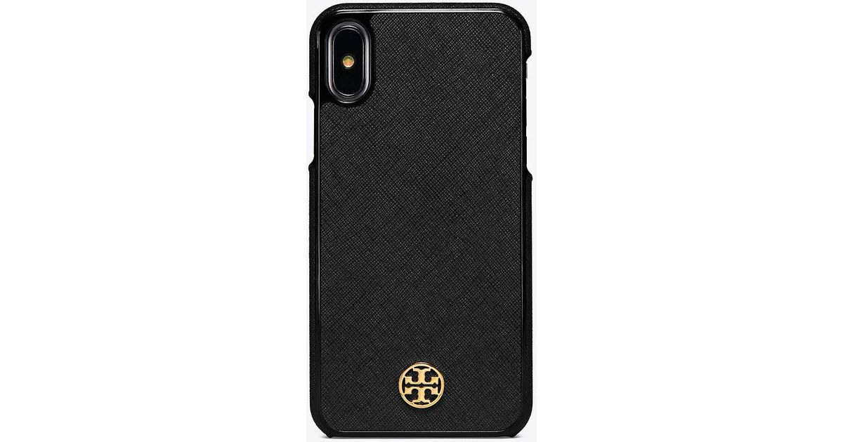 new products ee4c8 cdff4 Tory Burch Black Robinson Hardshell Case For Iphone X | 001 | Phone Cases