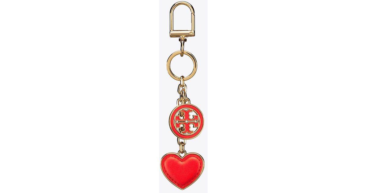 67e734c12d36 Lyst - Tory Burch Logo And Heart Key Fob