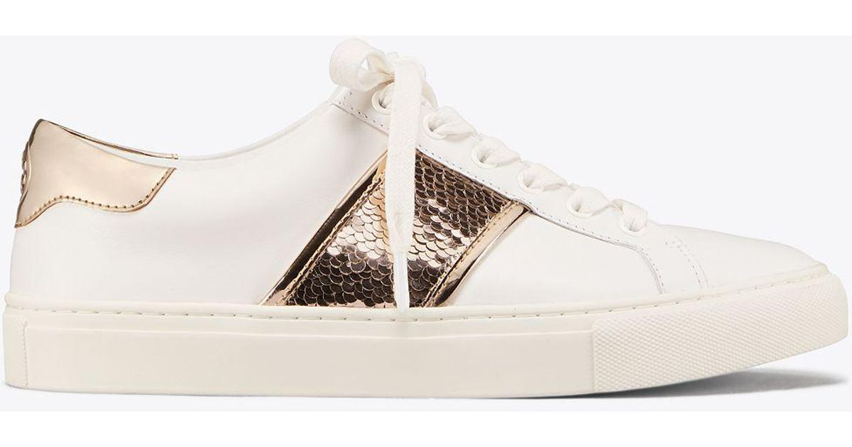 e3ded50a7a2 Lyst - Tory Burch Carter Sequin Sneaker in White