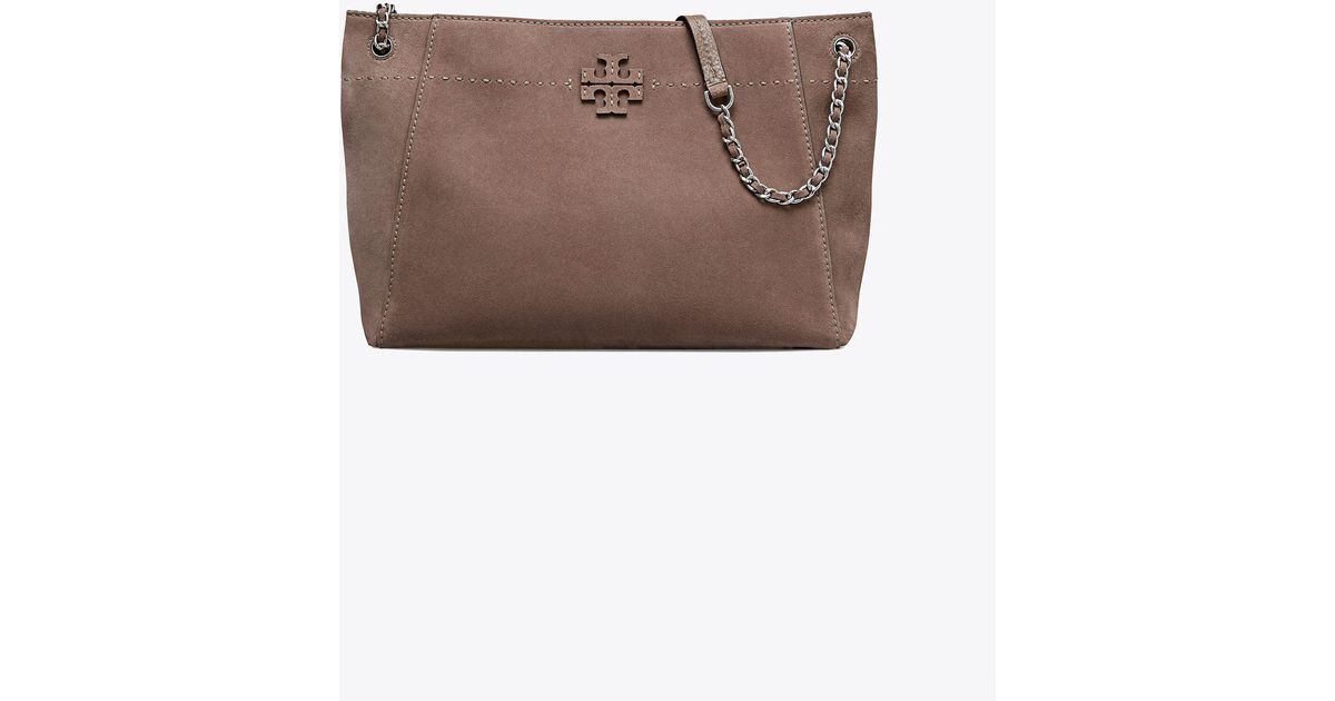 35a5928c6e02 Tory Burch Mcgraw Suede Chain-shoulder Slouchy Tote in Brown - Lyst