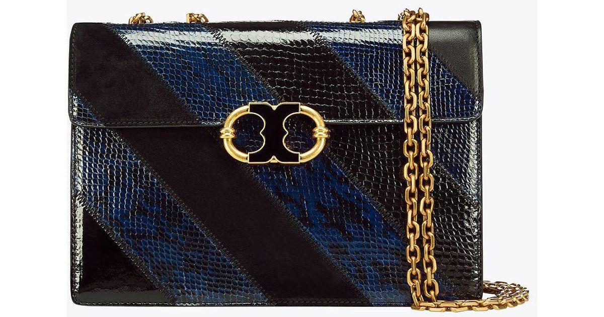 2d0a2c882b4 Lyst - Tory Burch Gemini Link Snake Medium Chain Shoulder Bag in Black