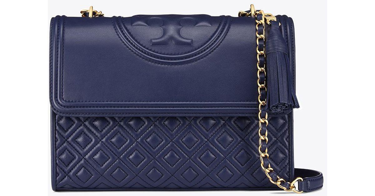 663f66b2a4d Tory Burch Fleming Convertible Shoulder Bag in Blue - Save 19% - Lyst