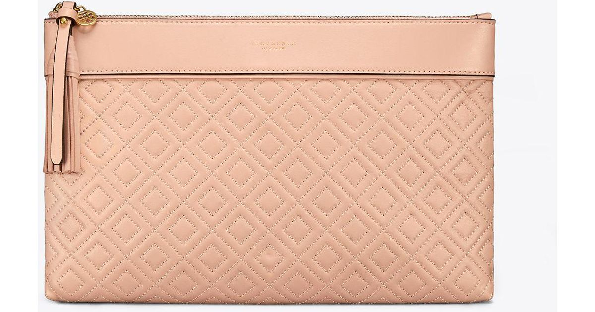 13cea56a13b6 Tory Burch Fleming Medium Pouch in Pink - Lyst