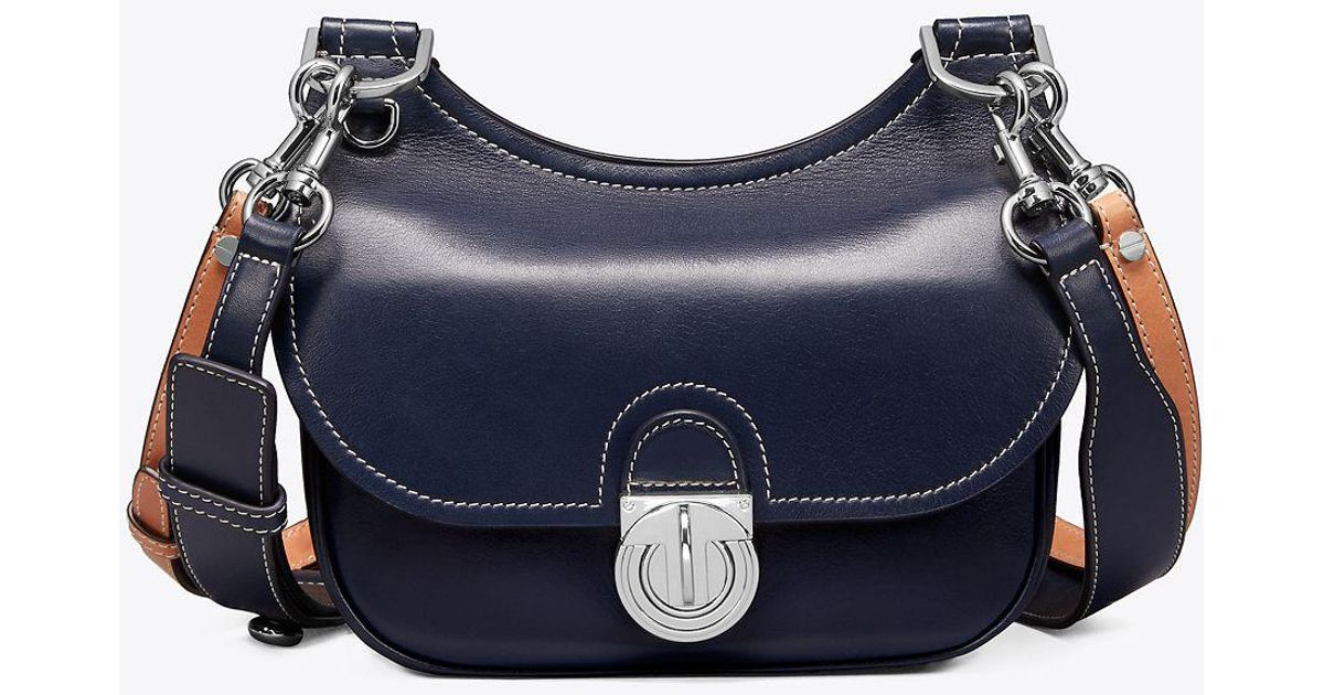 444bacd35ce3fd Tory Burch James Small Saddlebag in Blue - Lyst