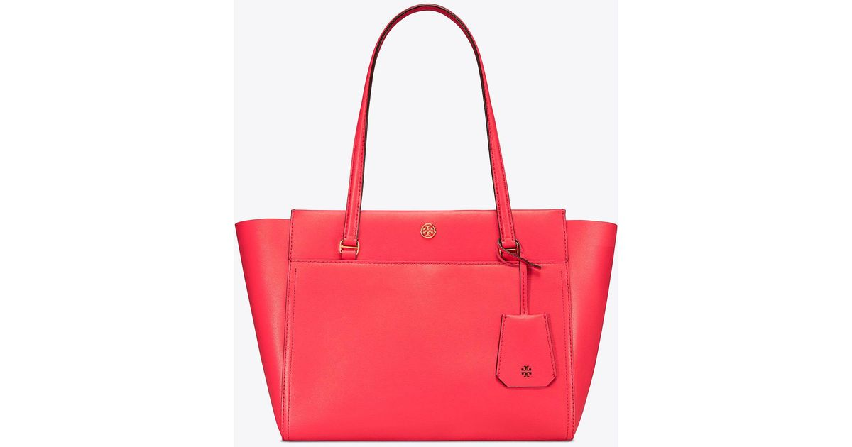 d2eda3cf221 Lyst - Tory Burch Parker Small Tote in Red
