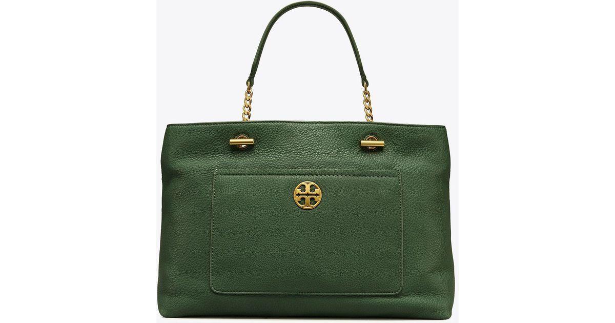 9a5f9659e68 Lyst - Tory Burch Chelsea Satchel in Green