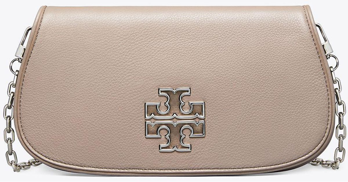 fe7ac7539006 Lyst - Tory Burch Britten Clutch in Gray