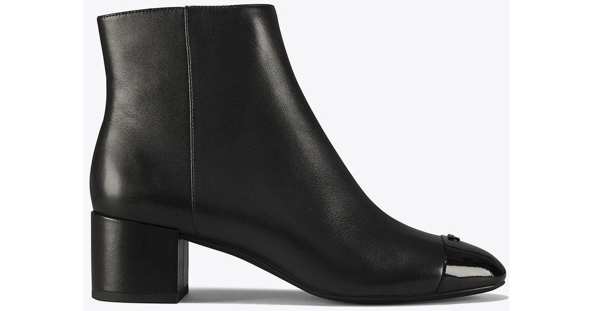 6a3e04d61 Tory Burch Shelby Leather Block-heel Booties in Black - Lyst