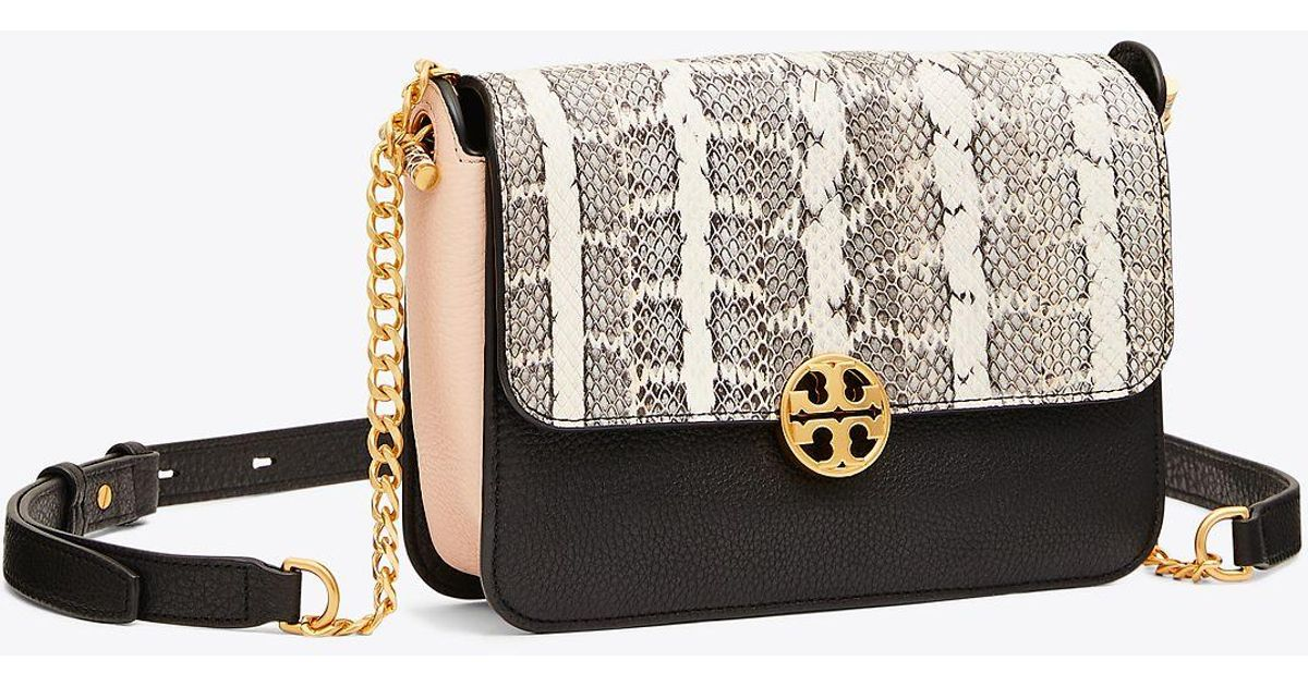 1110864963 Tory Burch Chelsea Colorblock Snake Crossbody   019   Crossbody Bags in  Black - Lyst