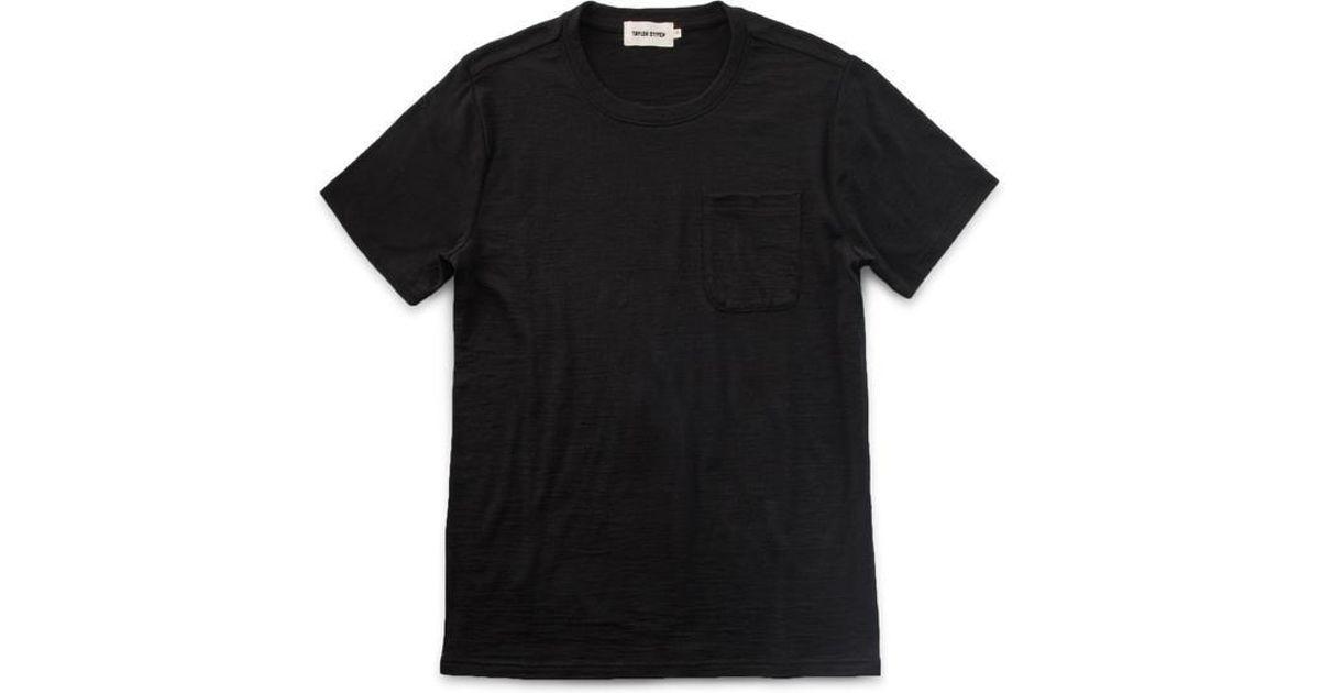 a284df31 Taylor Stitch Merino Wool Crewneck Pocket Tee in Black for Men - Lyst