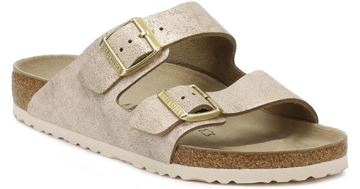 separation shoes ce9b5 c6e87 Birkenstock Metallic Arizona Womens Rose Gold Suede Sandals