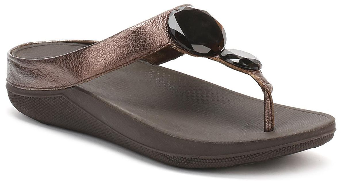 762b2a7940fcef Fitflop - Brown Womens Bronze Luna Pop Sandals - Lyst