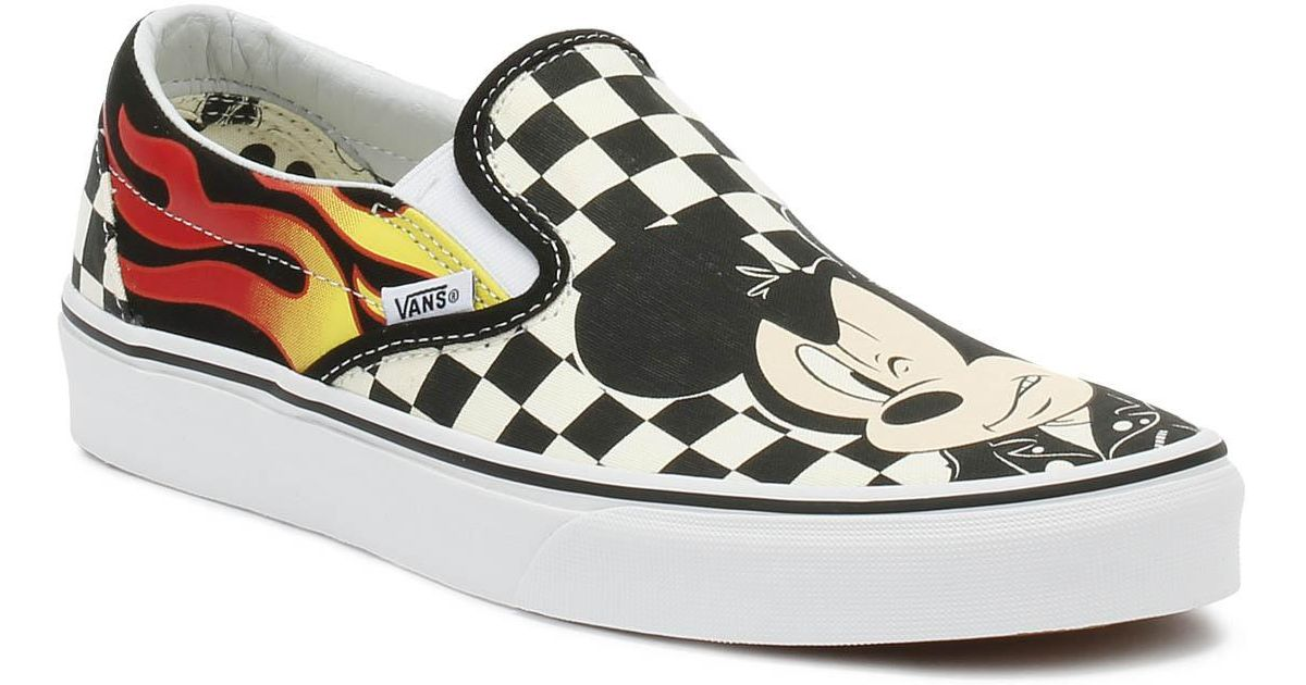 3b3ee264fc Lyst - Vans Disney Mickey   Minnie Checker Flame Slip On Trainers