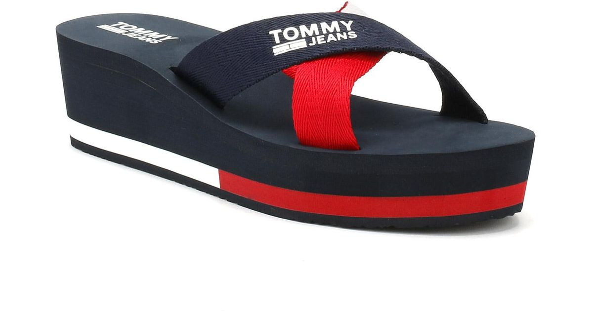 a2f5c50b976 Tommy Hilfiger Womens Tommy Navy Mid Wedge Slides in Blue - Lyst
