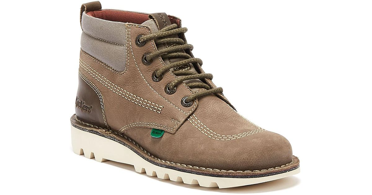 Kickers Kick Hi Mash Up Tan Leather Mens Boots