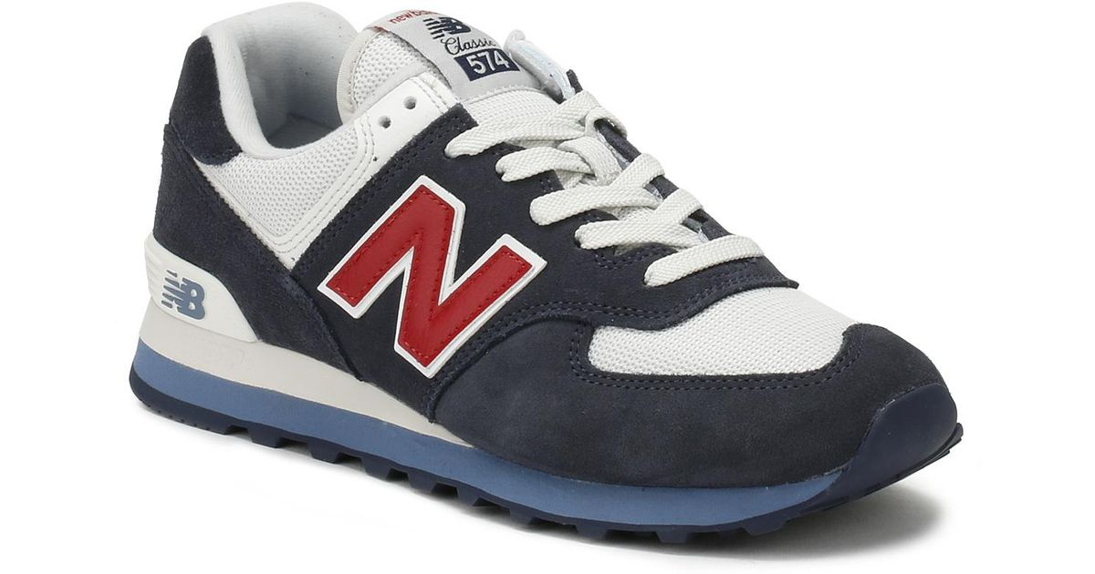 New Balance Blue Mens Navy / Red 574 Trainers for men