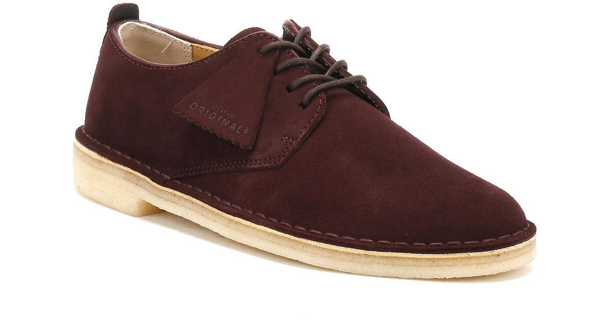 neue Fotos Bestbewertet authentisch modischer Stil Clarks Multicolor Mens Burgundy Suede Desert London Shoes for men