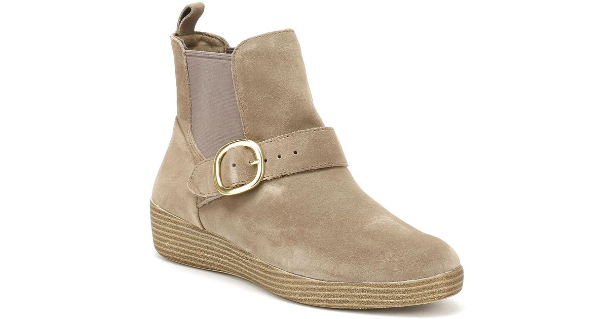 e6e9bc90e6ddb7 Lyst - Fitflop Womens Desert Taupe Suede Superbuckle Chelsea Boots