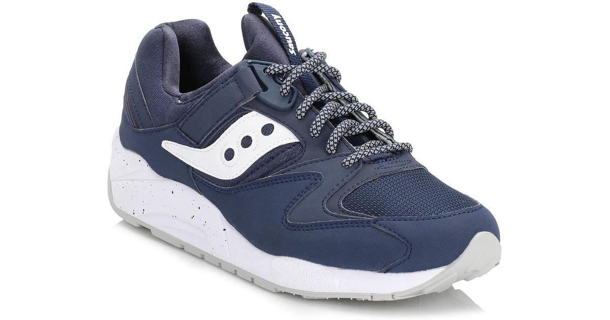 Saucony men's grid 9000 low top sneakers blue navywhite