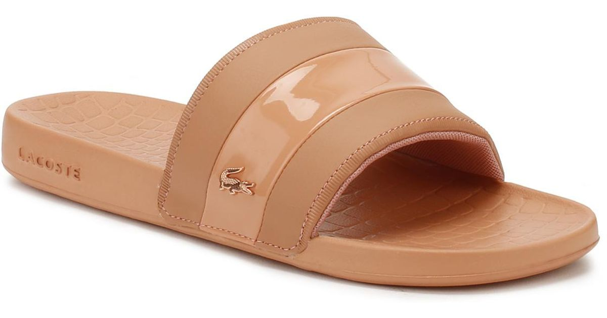 97a513179a3 Lyst - Lacoste Fraisier Leather Slides in Pink - Save 12%