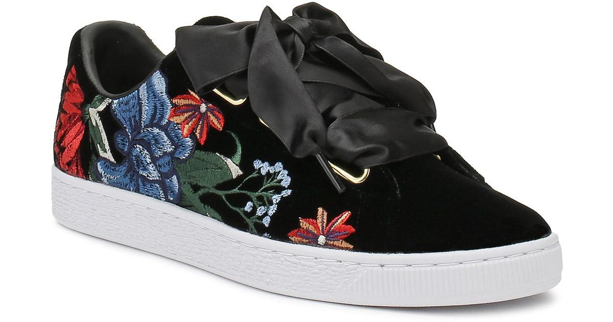 PUMA Womens Black Basket Heart Hyper Embroidery Trainers