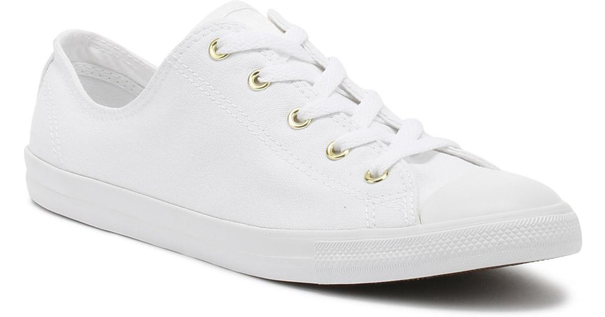 c43f53090fe5 Converse Chuck Taylor All Star Womens White   Gold Dainty Ox Trainers in  White - Lyst