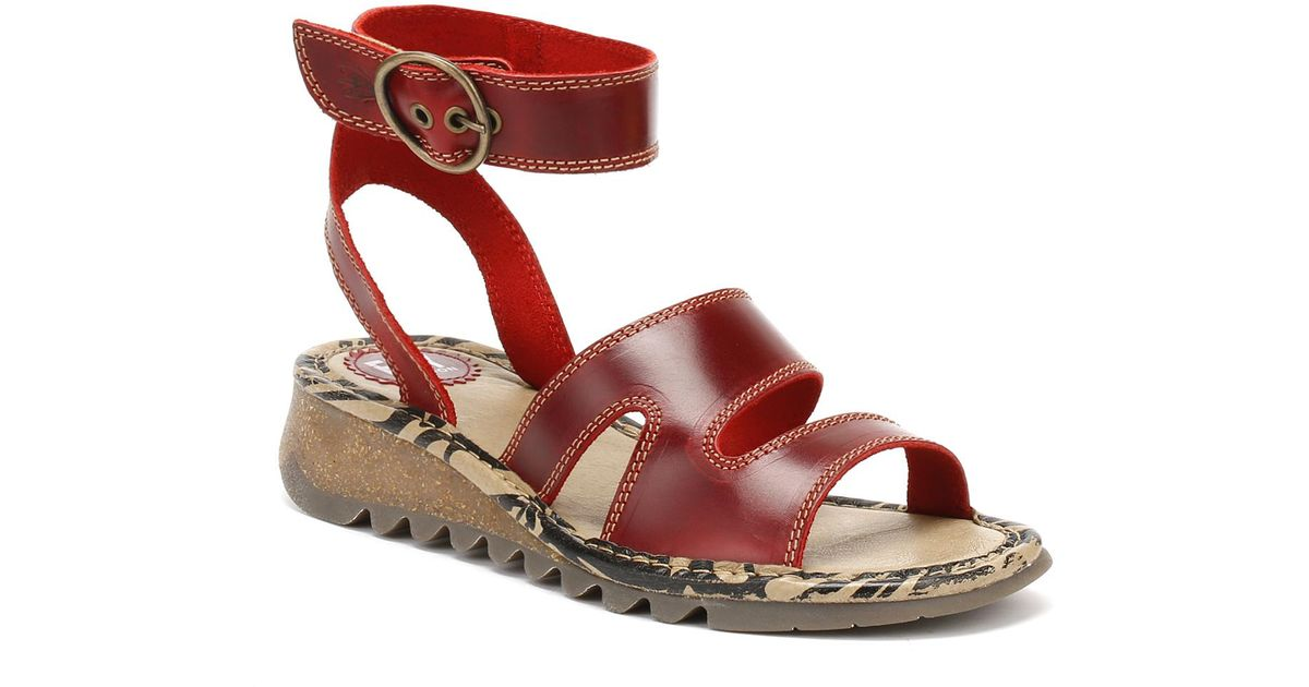 2999a1c67208f0 Fly London Womens Red Tily722fly Bridle Sandals in Red - Lyst