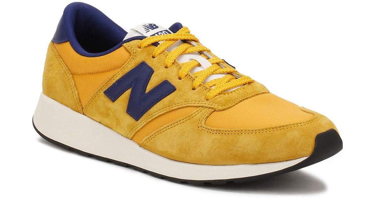 New Balance Mens Yellow Blue Suede 420 Re engineered Trainers for men