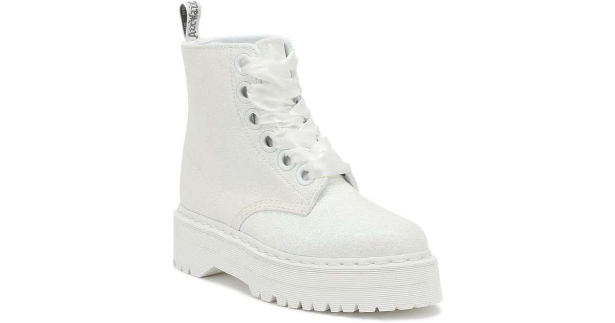 837819aa771 Dr. Martens Dr. Martens Molly Womens Iridescent White Glitter Boots