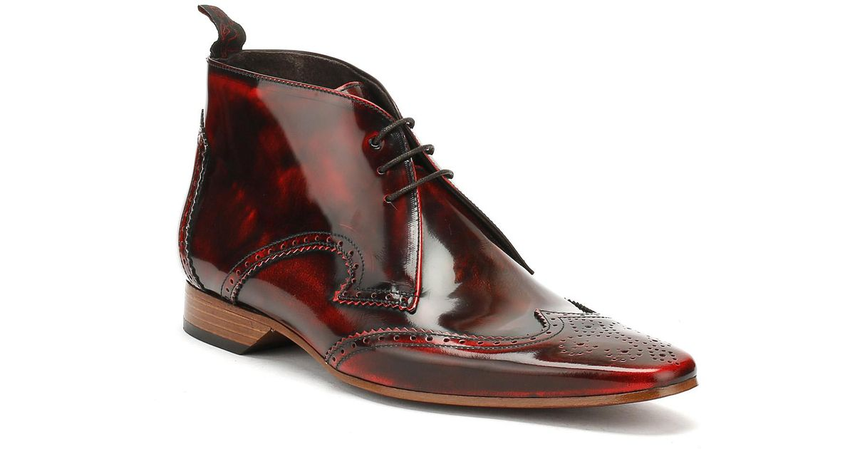 25445a1810 Jeffery West Mens College Red Escobar Brogue Chukka Shoes in Red for Men -  Lyst