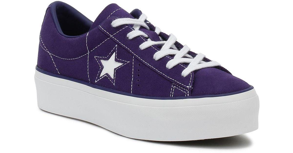 5ae0fa83bda9 Lyst - Converse One Star Womens Purple Platform Trainers in Purple