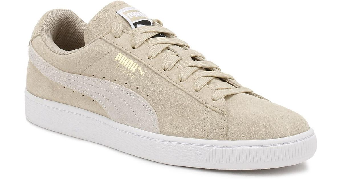 Puma Women's Suede Classic Lace Up Trainer Safari White