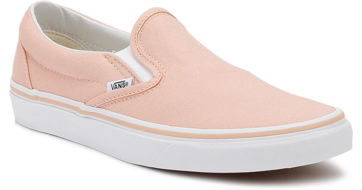 ef467690c1aef Vans Classic Slip-on Womens Tropical Peach True White Canvas Trainer  Women's Slip-ons (shoes) In White