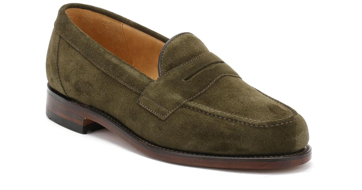 Loake Mens Green Eton Suede Loafers for