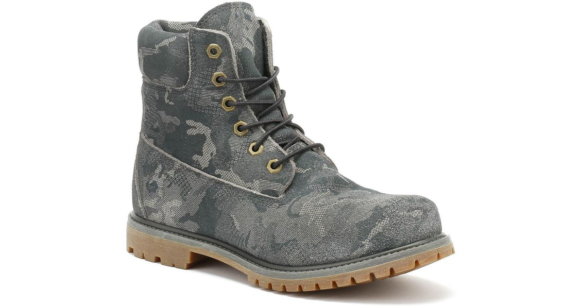 Comportamiento Riego densidad  Timberland Leather Womens Multi Grey Camo 6 Inch Premium Boots in Gray -  Lyst