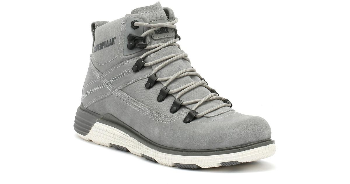 Men/'s Caterpillar Colorado Leather Lace up Cushioned Boot in Grey