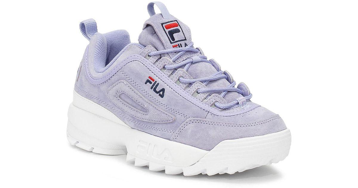Fila Blue Disruptor Ii Womens Sweet Lavender Premium Suede Trainers