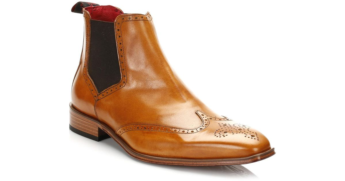b4a25b19bc1 Jeffery West Brown Mens Tequila Honey Brogue Chelsea Boots for men