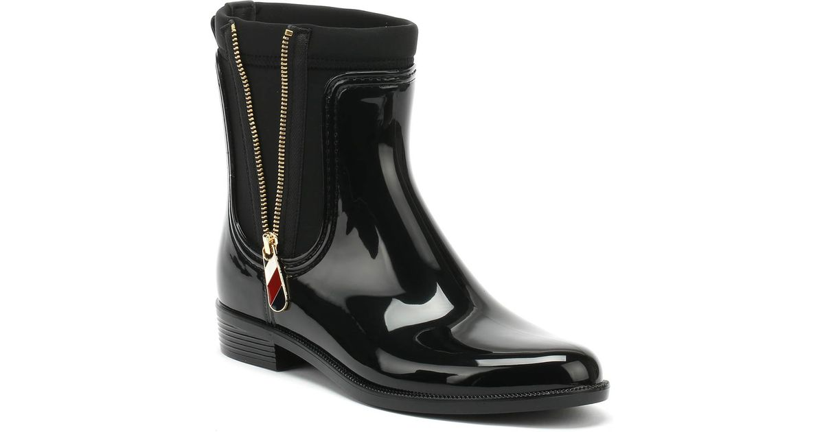 0ad36c392ae0 Lyst - Tommy Hilfiger Material Mix Rain Boot Women s Wellington Boots In  Black in Black