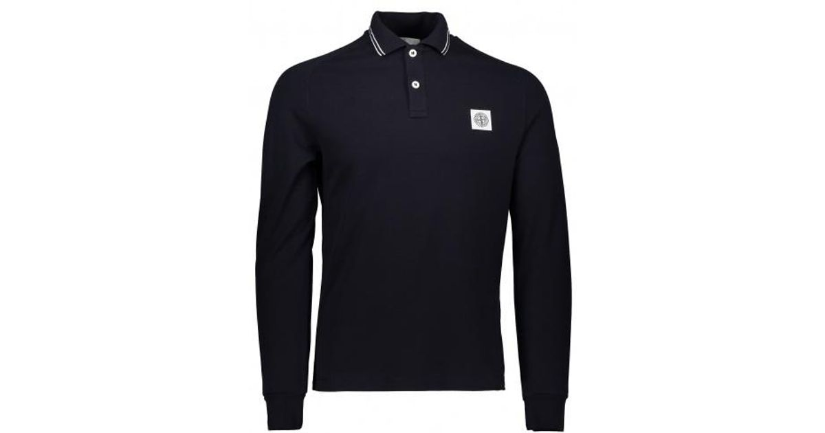 8a88e268 Stone Island Ls Patch Logo Polo in Blue for Men - Lyst