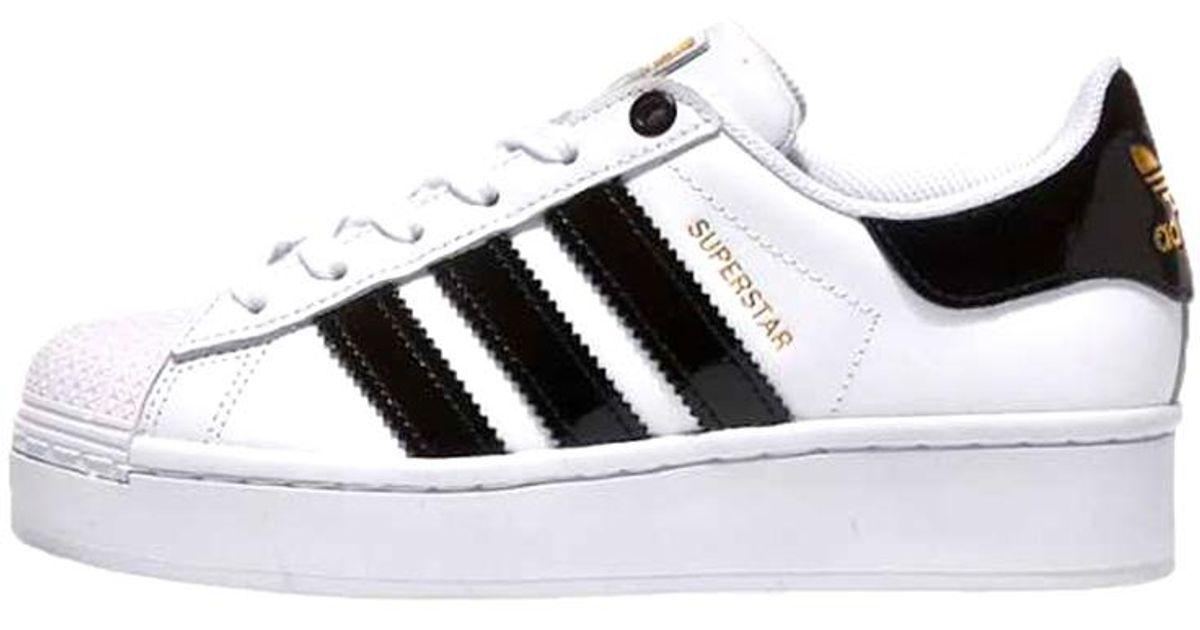 Adidas Cloud White Core Black Gold Metallic Superstar Bold Shoes