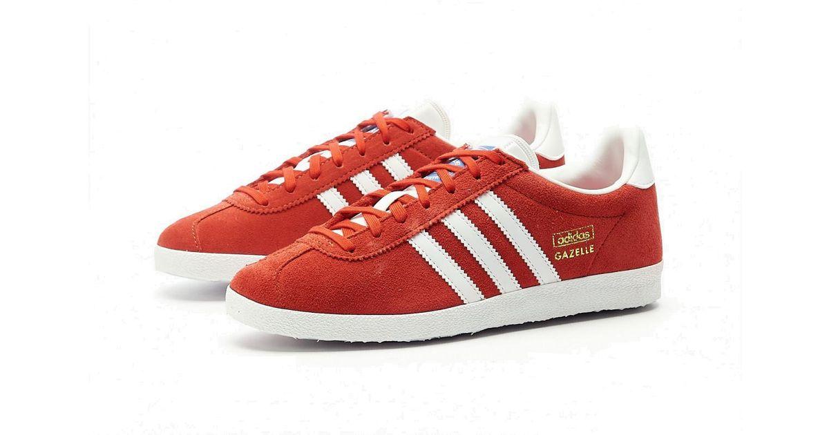 adidas Gazelle Og Sneaker Red, White & Gold Metalic for Men - Lyst